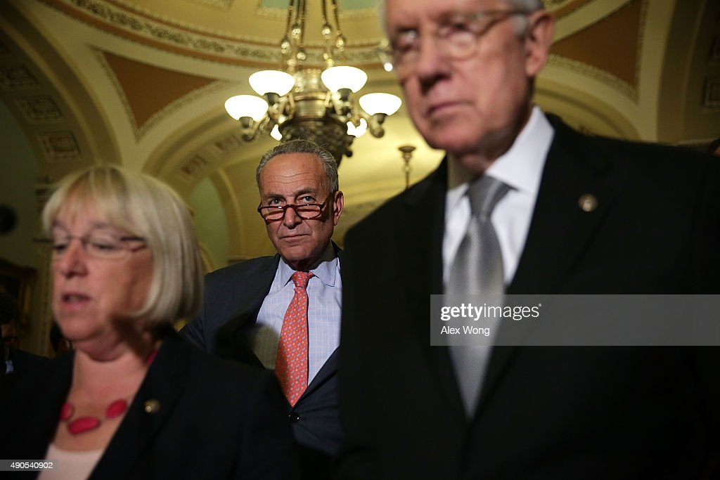 U.S. Sen. Patty Murray (D-WA) speaks as Sen. Charles Schumer (D-NY) and Senate Minority Leader Sen. Harry Reid (D-NV) listen during a media briefing after the weekly Senate Democratic Policy Luncheon September 29, 2015 at the U.S. Capitol in Washington, DC. Senate Democrats held the luncheon to discuss Democratic agenda.