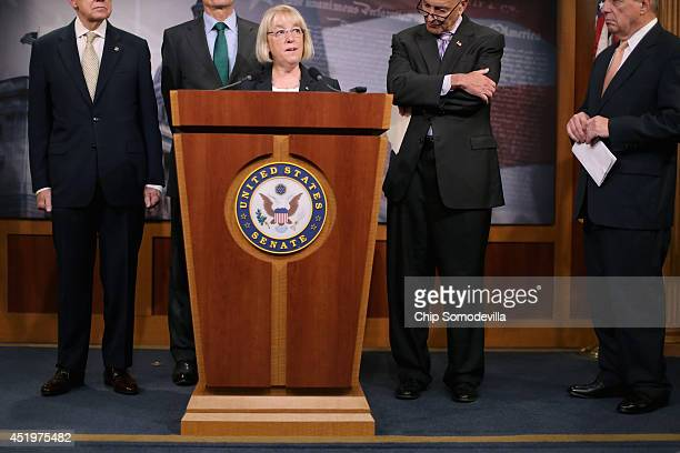 Sen Patty Murray speaks during a news conference to announce they will fasttrack new legislation to prevent forprofit employers from refusing to...