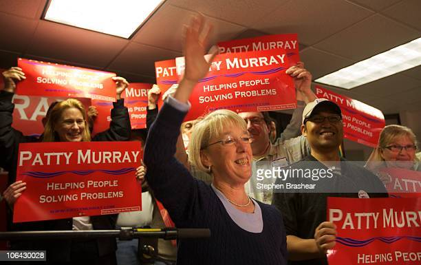 Sen Patty Murray speaks during a rally at the IAM Local 751 Union Hall November 1 2010 in Everett Washington Murray who is seeking her fourth term is...