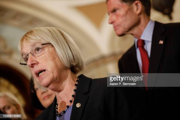 S Sen Patty Murray speaks with reporters ahead of the weekly policy luncheons on Capitol Hill September 18 2018 in Washington DC Senate Majority...