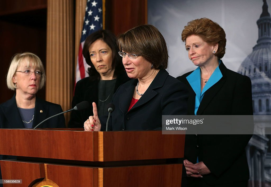 U.S. Sen. Patty Murray (D-WA), U.S. Sen. Maria Cantwell (D-WA), U.S. Sen. Amy Klobuchar (D-MN), U.S. Sen. Debbie Stabenow (D-MI), participate in a news conference on violence against women on December 18, 2012 in Washington, DC. The Democratic female Senators discussed a domestic violence protection bill and have called on the House to pass it before Congress recesses at end of the year.