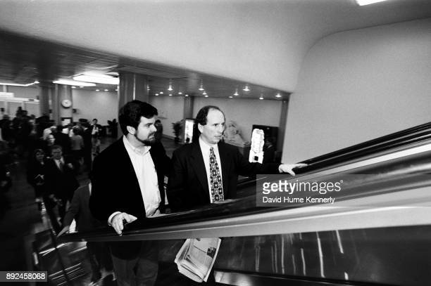 Sen Paul Wellstone of Minnesota as he rides the escalator of the US Capitol building on his way to the second to last day of the Senate Impeachment...