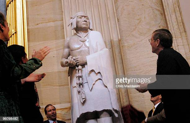 Sen Pete Domenici RNM at the dedication ceremony of the statue of Pueblo leader Po'pay in the Rotunda of Capitol Po'pay led a revolt against the...