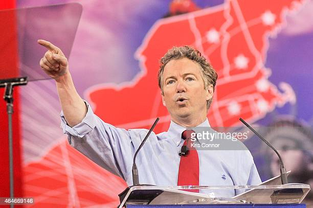 S Sen Rand Paul addresses the 42nd annual Conservative Political Action Conference at the Gaylord National Resort Hotel and Convention Center on...