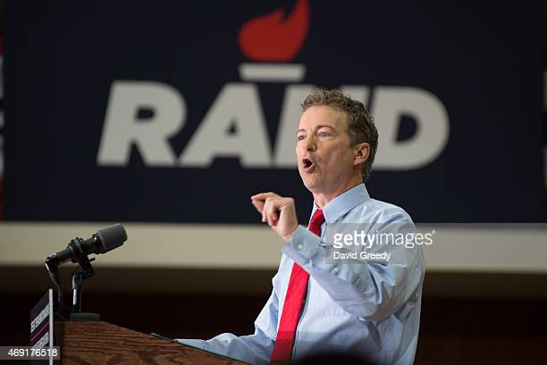 S Sen Rand Paul and GOP presidential hopeful and GOP presidential hopeful continues his 'Stand by Rand' tour at the University of Iowa campus on...