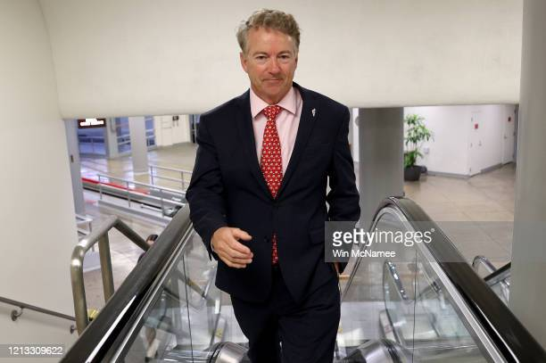Sen. Rand Paul arrives at the U.S. Capitol for a vote on March 18, 2020 in Washington, DC. Senate Majority Leader Mitch McConnell is urging members...