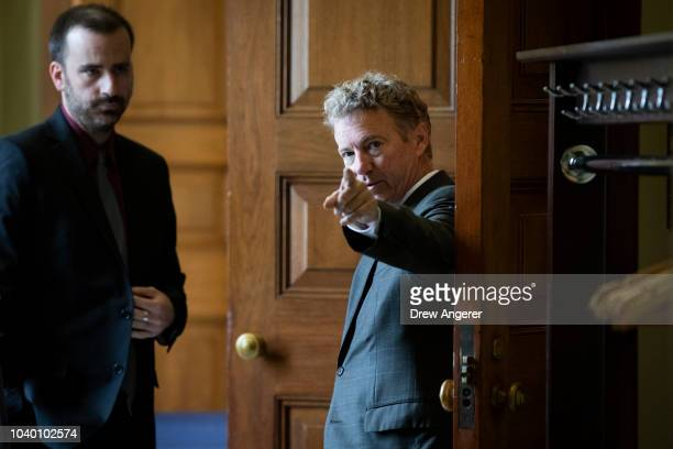Sen. Rand Paul arrives for the weekly GOP policy luncheon on Capitol Hill, September 25, 2018 in Washington, DC. Christine Blasey Ford, who has...