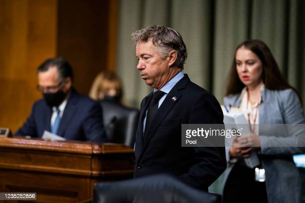 Sen. Rand Paul arrives to hear Secretary of State Antony Blinken testify during a Senate Foreign Relations Hearing to examine the United States...