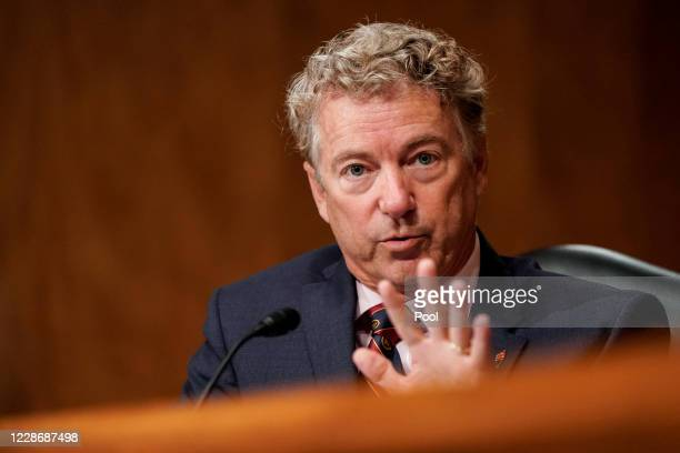 """Sen. Rand Paul asks questions during a Senate Homeland Security and Governmental Affairs Committee hearing on """"Threats to the Homeland"""" on Capitol..."""