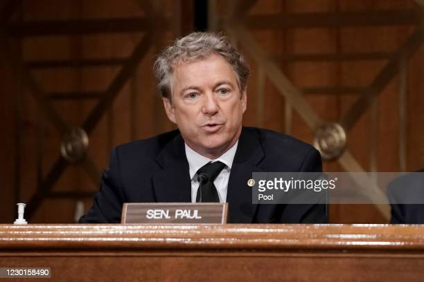 Sen. Rand Paul asks questions during a Senate Homeland Security and Governmental Affairs Committee hearing to discuss election security and the 2020...