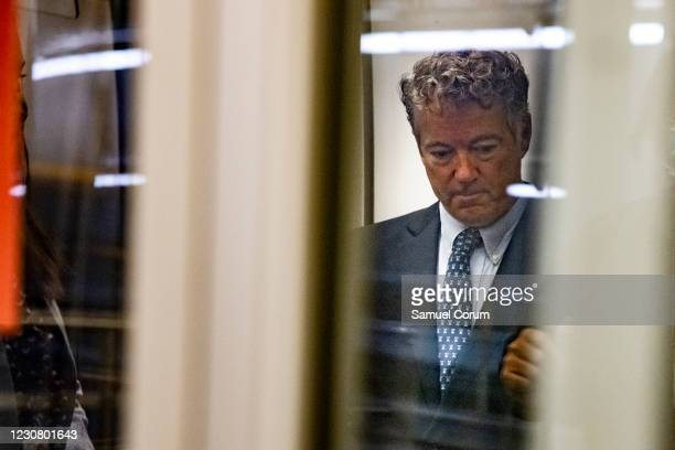 Sen. Rand Paul boards a car in the Senate Subway as he heads to the Republican Policy Luncheon on January 26, 2021 in Washington, DC. Today senators...
