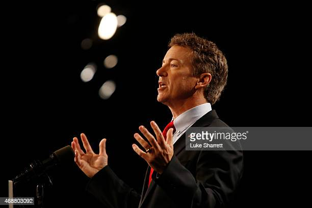 Sen Rand Paul delivers remarks while announcing his candidacy for the Republican presidential nomination during an event at the Galt House Hotel on...