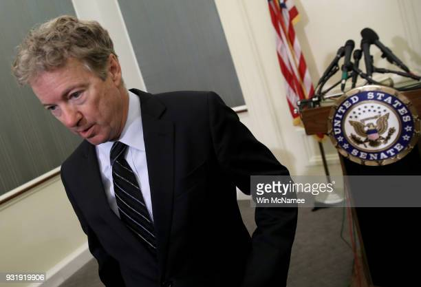 Sen Rand Paul departs a press conference at the US Capitol on March 14 2018 in Washington DC During the press conference Paul announced his...