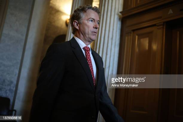 Sen. Rand Paul departs from the Senate Chambers in the U.S. Capitol on July 21, 2021 in Washington, DC. The Senate is expected to hold a cloture vote...