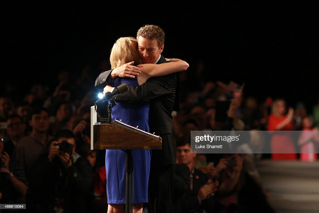 Sen. Rand Paul (R-KY) embraces his wife, Kelley Paul, before announcing his candidacy for the Republican presidential nomination during an event at the Galt House Hotel on April 7, 2015 in Louisville, Kentucky. Originally an ophthalmologist, Paul rode the Tea Party wave to office in 2010.