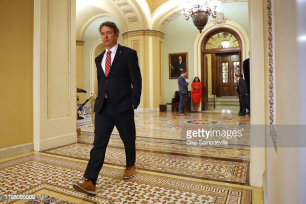 Sen. Rand Paul heads for the weekly Senate Republicans policy luncheon at the U.S. Capitol January 07, 2020 in Washington, DC. In an interview on...
