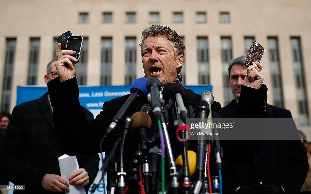 Rand Paul Announces Class Action Lawsuit Against Obama, Intelligence Chiefs : News Photo