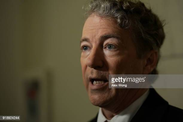 S Sen Rand Paul participates in a TV interview outside his office at Russell Senate Office Building on Capitol Hill February 8 2018 in Washington DC...