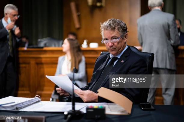 Sen. Rand Paul prepares to hear Secretary of State Antony Blinken testify during a Senate Foreign Relations Hearing to examine the United States...