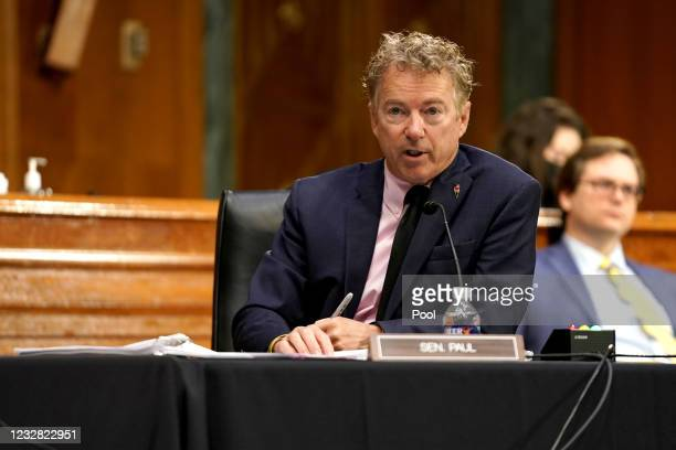 Sen. Rand Paul questions Dr. Anthony Fauci, director of the National Institute of Allergy and Infectious Diseases, during a Senate Health, Education,...