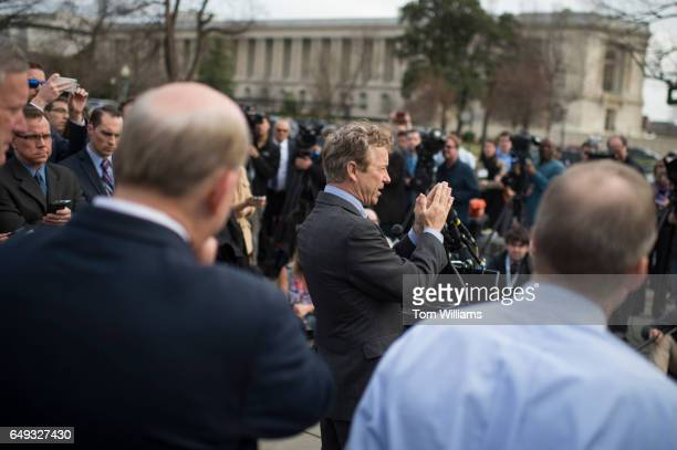 Sen Rand Paul RKy conducts a news conference with members of the House Freedom Caucus at the House Triangle where they criticized the House...