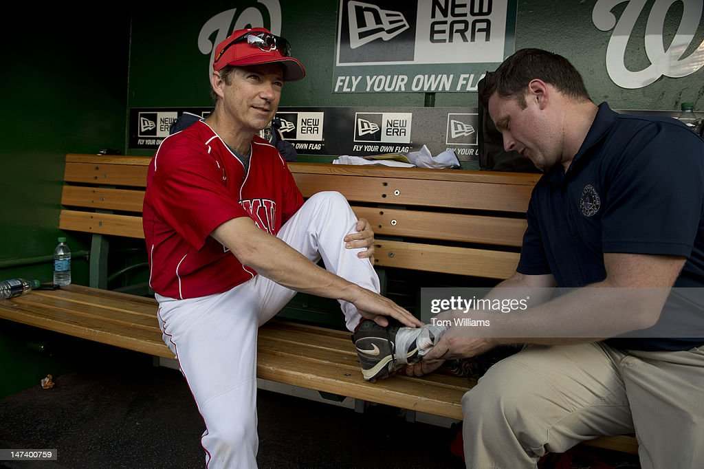 Sen. Rand Paul, R-Ky., is taped up before the start of the 51st Annual CQ Roll Call Congressional Baseball Game held at Nationals Park. The Democrats over the Republicans prevailed 18-5.