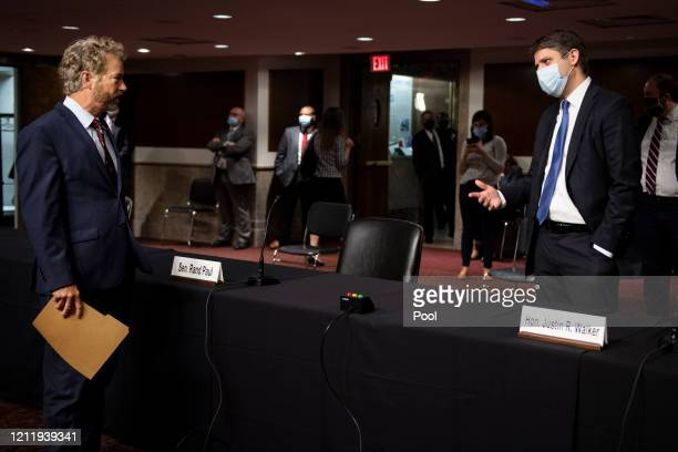 Sen Rand Paul RKy talks with Judge Justin Walker before a Senate Judiciary Committee hearing on Walkers nomination to be United States Circuit Judge...
