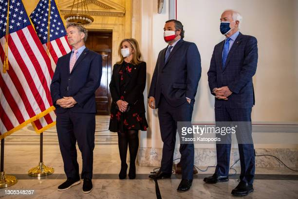 Sen. Rand Paul , Sen. Marsha Blackburn , Sen. Ted Cruz and Sen. John Cornyn attend a press conference on school reopening during Covid-19 at US...
