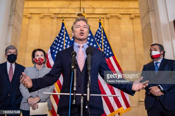 Sen. Rand Paul speaks at a press conference on school reopening during Covid-19 at US Capitol on March 04, 2021 in Washington, DC. The House of...
