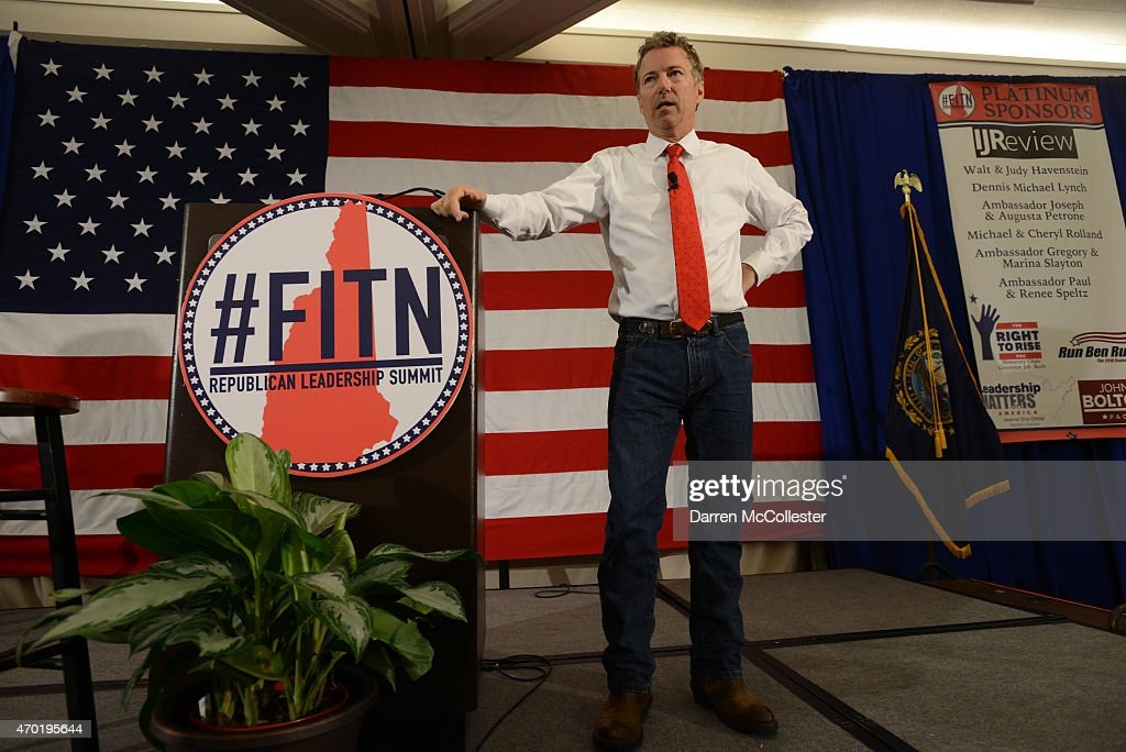 U.S. Sen. Rand Paul (R-KY) speaks at the First in the Nation Republican Leadership Summit April 18, 2015 in Nashua, New Hampshire. The Summit brought together local and national Republicans and was attended by all the Republicans candidates as well as those eyeing a run for the nomination.