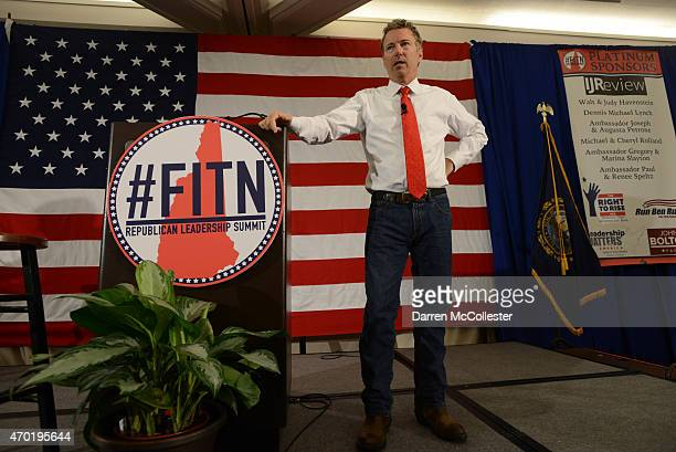 S Sen Rand Paul speaks at the First in the Nation Republican Leadership Summit April 18 2015 in Nashua New Hampshire The Summit brought together...