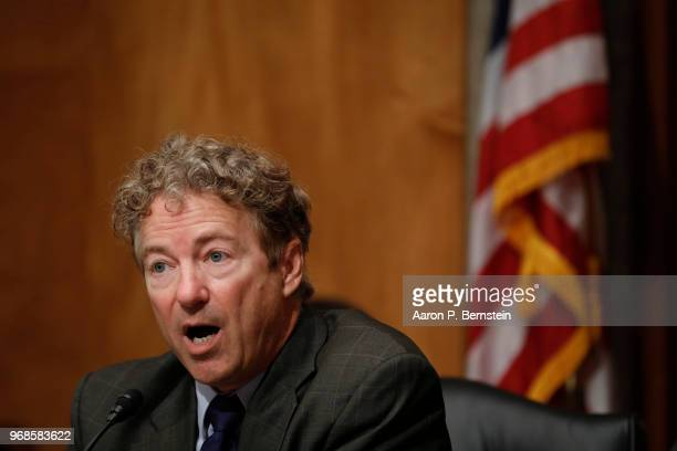 Sen Rand Paul speaks during a Federal Spending Oversight And Emergency Management Subcommittee hearing June 6 2018 on Capitol Hill in Washington DC...