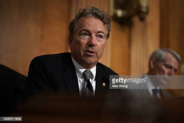 S Sen Rand Paul speaks during a hearing before Senate Foreign Relations Committee July 25 2018 on Capitol Hill in Washington DC The committee held a...
