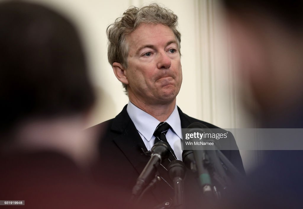 Sen. Rand Paul (R-KY) speaks during a press conference at the U.S. Capitol on March 14, 2018 in Washington, DC. During the press conference, Paul announced his opposition to the nomination of CIA Director Mike Pompeo as U.S. President Donald Trump's new Secretary of State, and also his opposition to Gina Haspel as the new Director of the CIA.