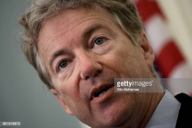 Sen Rand Paul speaks during a press conference at the US Capitol on March 14 2018 in Washington DC During the press conference Paul announced his...