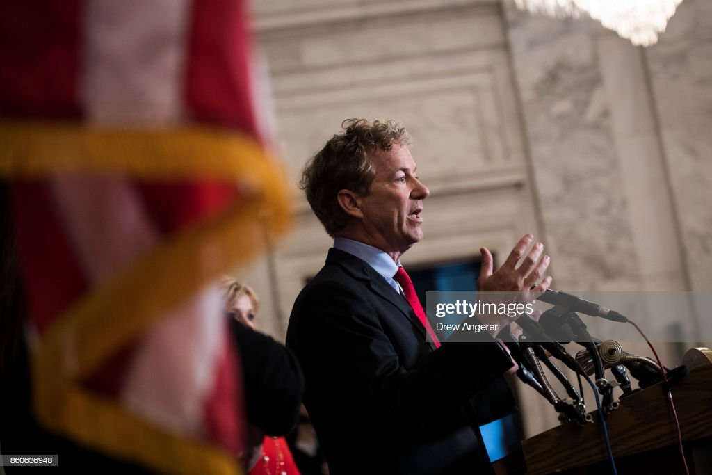 Sen. Rand Paul (R-KY) speaks during a press conference regarding the executive order President Donald Trump signed earlier on Thursday, on Capitol Hill, October 12, 2017 in Washington, DC. The executive order is intended for small businesses, and potentially individuals to be able to band together to get insurance in smaller groups, possibly across state lines.