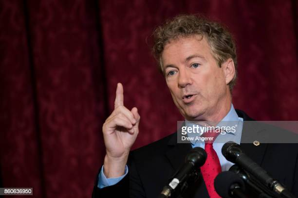 Sen Rand Paul speaks during a press conference regarding the executive order President Donald Trump signed earlier on Thursday on Capitol Hill...