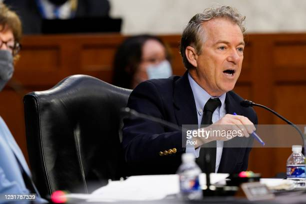 Sen. Rand Paul speaks during a Senate Health, Education, Labor and Pensions Committee hearing on the federal coronavirus response on Capitol Hill on...