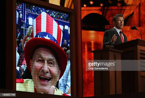 S Sen Rand Paul speaks during the third day of the Republican National Convention at the Tampa Bay Times Forum on August 29 2012 in Tampa Florida...