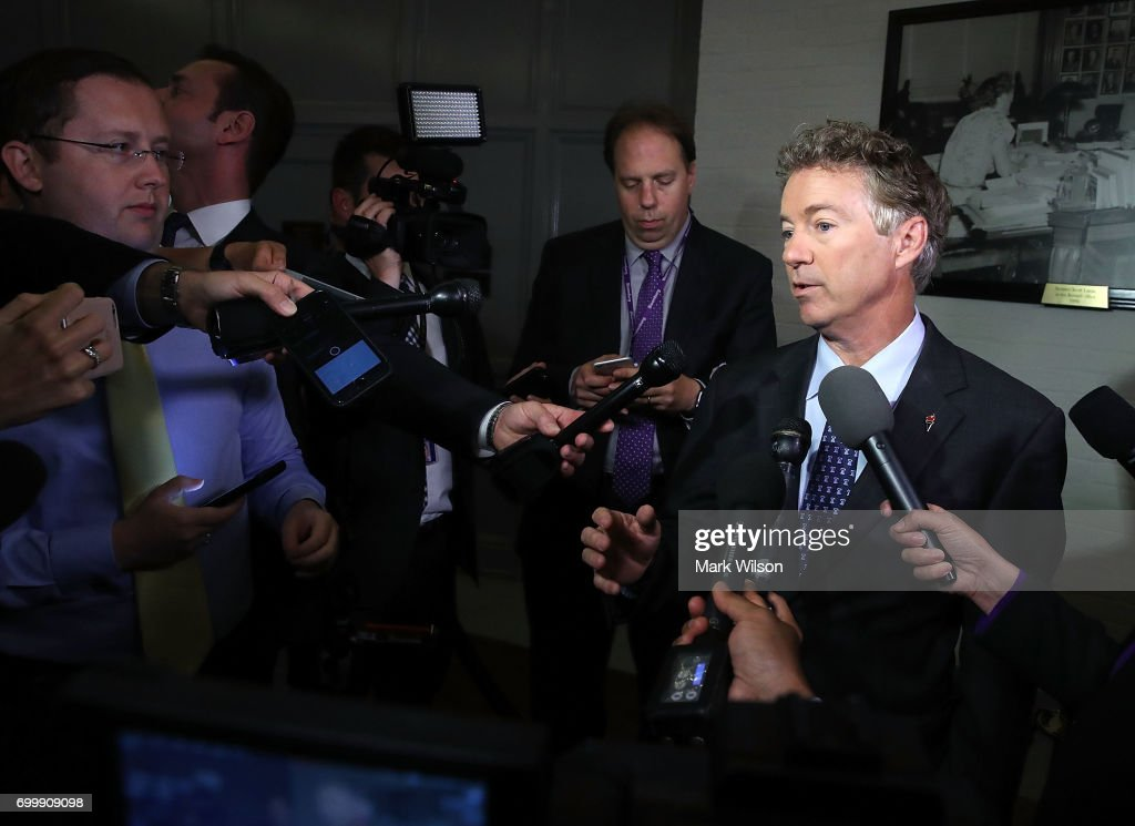Sen. Rand Paul (R-KY) speaks to the media about the Senate Republican health care bill proposal, on June 22, 2017 in Washington, DC. Today Senate GOP lawmakers took their first look at the health care bill that could replace the Affordable Care Act.