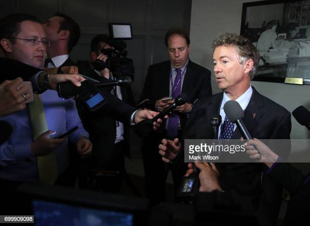 Sen Rand Paul speaks to the media about the Senate Republican health care bill proposal on June 22 2017 in Washington DC Today Senate GOP lawmakers...