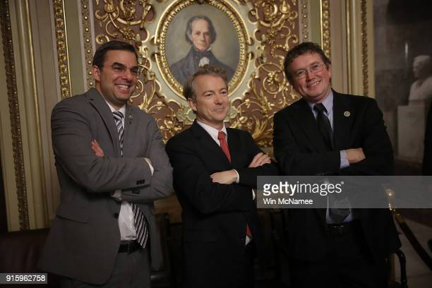 Sen Rand Paul takes a brief break from the floor of the US Senate to pose for a photo with Rep Justin Amash and Rep Thomas Massie at the US Capitol...