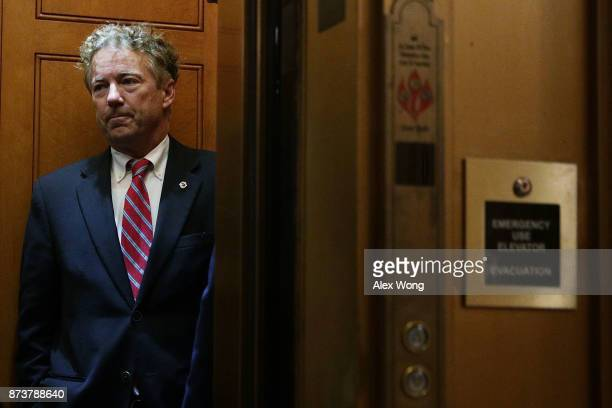S Sen Rand Paul takes the elevator as he arrives at the Capitol for a vote November 13 2017 in Washington DC Sen Paul returned to Capitol Hill after...