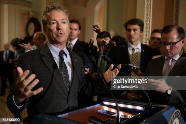 Sen Rand Paul talks to journalists following the weekly Senate Republican policy luncheon at the US Capitol July 18 2017 in Washington DC Paul said...