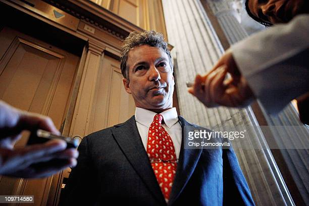 Sen. Rand Paul talks with reporters after he voted against a continuing resolution for the federal budget in the U.S. Capitol March 2, 2011 in...