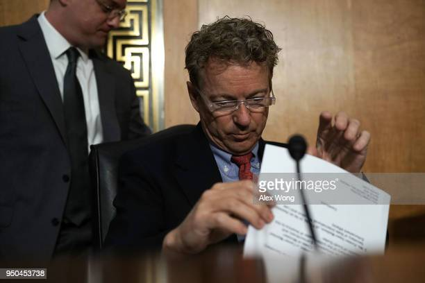 S Sen Rand Paul waits for the beginning of a Senate Foreign Relations Committee meeting April 23 2018 on Capitol Hill in Washington DC The committee...