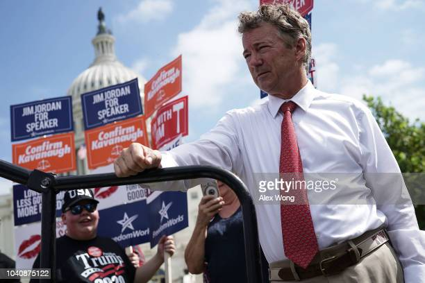 S Sen Rand Paul waits to be introduced during a rally hosted by FreedomWorks September 26 2018 at the West Lawn of the Capitol in Washington DC...