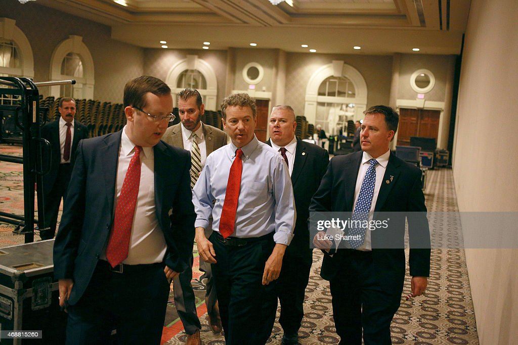 Sen. Rand Paul (R-KY) (C) walks backstage after announcing his candidacy for the 2016 Republican presidential nomination during an event at the Galt House Hotel on April 7, 2015 in Louisville, Kentucky. Originally an ophthalmologist, Paul rode the Tea Party wave to office in 2010.