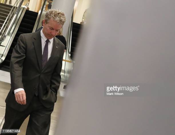 Sen Rand Paul walks through the US Capitol after the Senate voted to overturn the President's national emergency border declaration at the US Capitol...