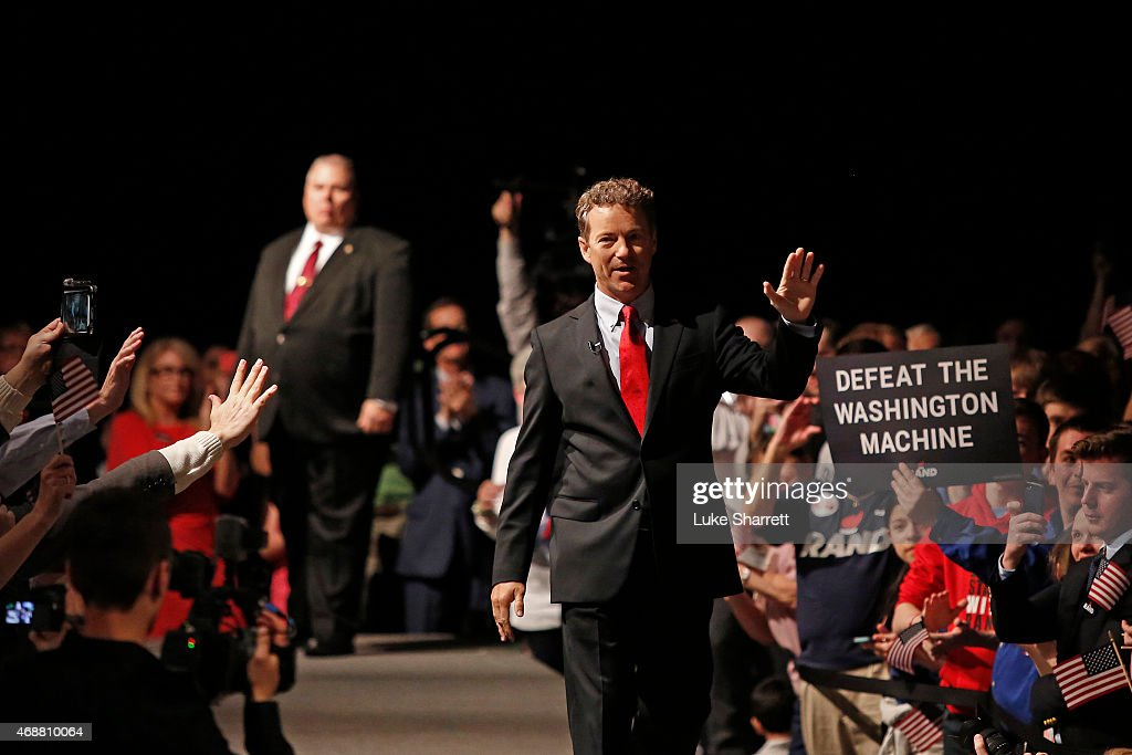 Sen. Rand Paul (R-KY) waves to supporters after taking the stage to announce his candidacy for the Republican presidential nomination during an event at the Galt House Hotel on April 7, 2015 in Louisville, Kentucky. Originally an ophthalmologist, Paul rode the Tea Party wave to office in 2010.